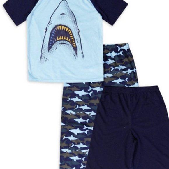 NWT 10 12 jellifish kids sharks pajamas camouflage